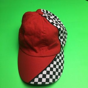 Two tone red / black white checkered print dad hat